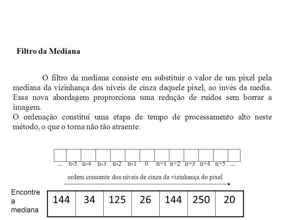 O filtro da mediana consiste em substituir o valor de um pixel pela mediana da vizinhança dos níveis de cinza daquele pixel, ao invés da media. Essa n