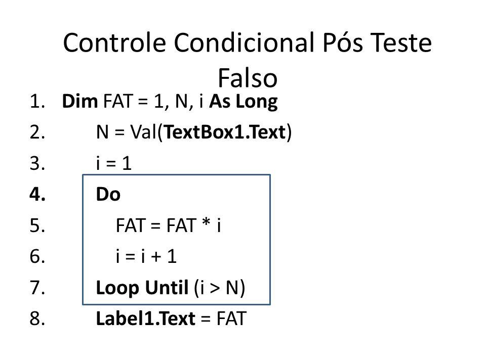 Controle Condicional Pós Teste Falso 1. Dim FAT = 1, N, i As Long 2. N = Val(TextBox1.Text) 3. i = 1 4. Do 5. FAT = FAT * i 6. i = i + 1 7. Loop Until