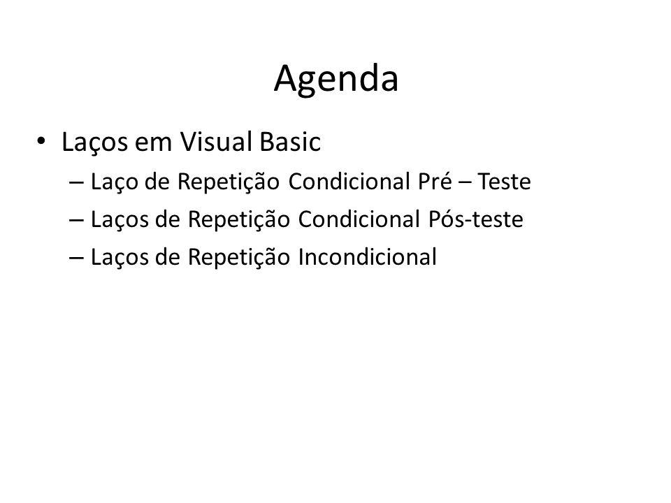 Agenda Laços em Visual Basic – Laço de Repetição Condicional Pré – Teste – Laços de Repetição Condicional Pós-teste – Laços de Repetição Incondicional