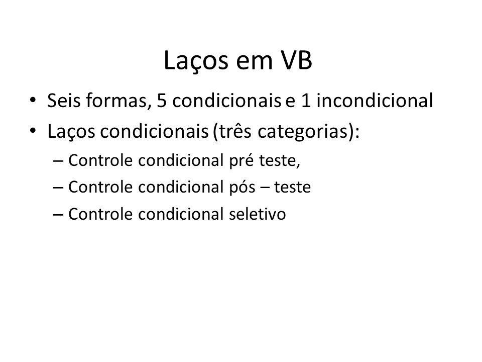 Laços em VB Seis formas, 5 condicionais e 1 incondicional Laços condicionais (três categorias): – Controle condicional pré teste, – Controle condicional pós – teste – Controle condicional seletivo