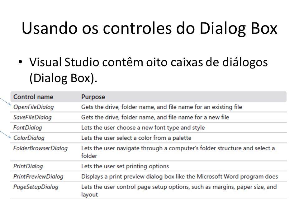 Usando os controles do Dialog Box Visual Studio contêm oito caixas de diálogos (Dialog Box).