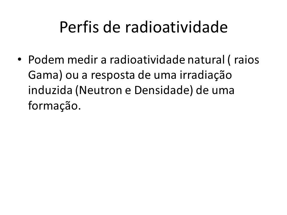 Perfis de radioatividade Podem medir a radioatividade natural ( raios Gama) ou a resposta de uma irradiação induzida (Neutron e Densidade) de uma form