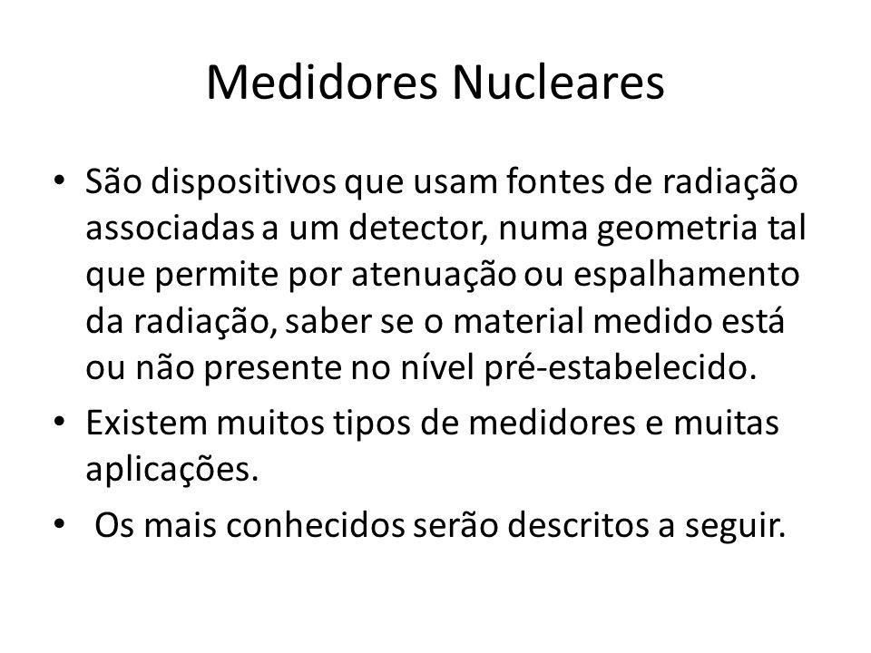 Medidores Nucleares São dispositivos que usam fontes de radiação associadas a um detector, numa geometria tal que permite por atenuação ou espalhament