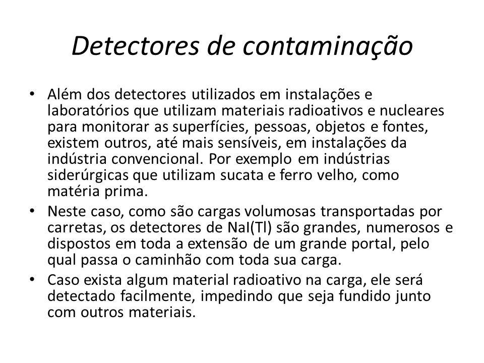 Detectores de contaminação Além dos detectores utilizados em instalações e laboratórios que utilizam materiais radioativos e nucleares para monitorar