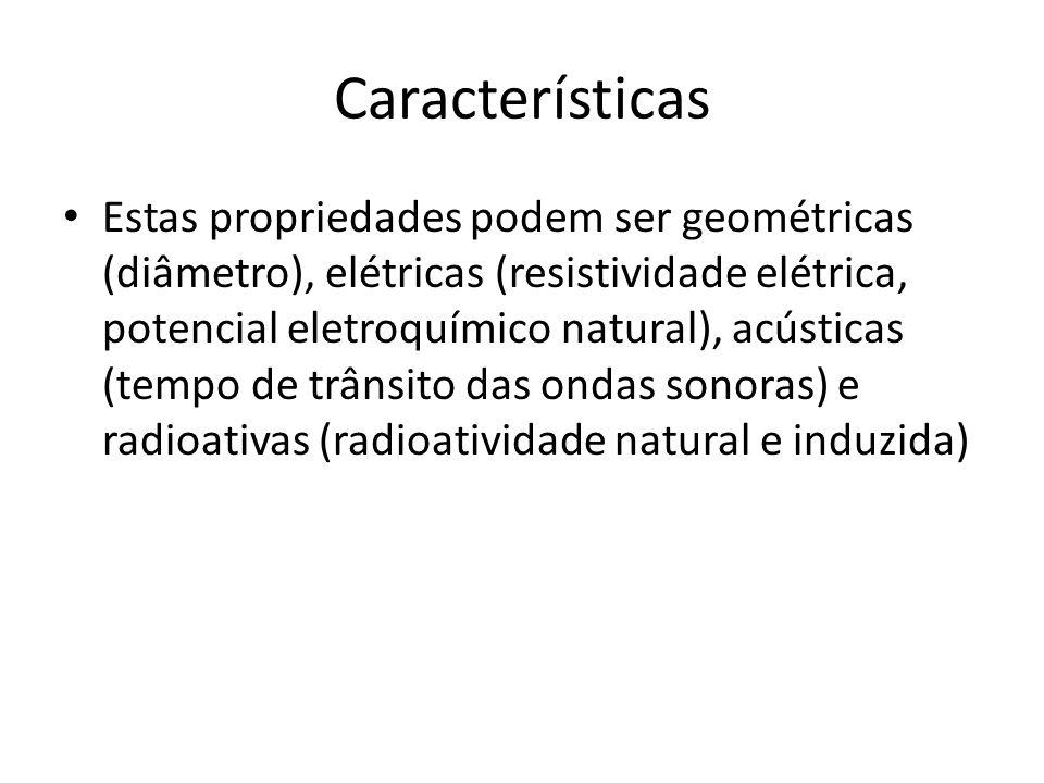 Características Estas propriedades podem ser geométricas (diâmetro), elétricas (resistividade elétrica, potencial eletroquímico natural), acústicas (t