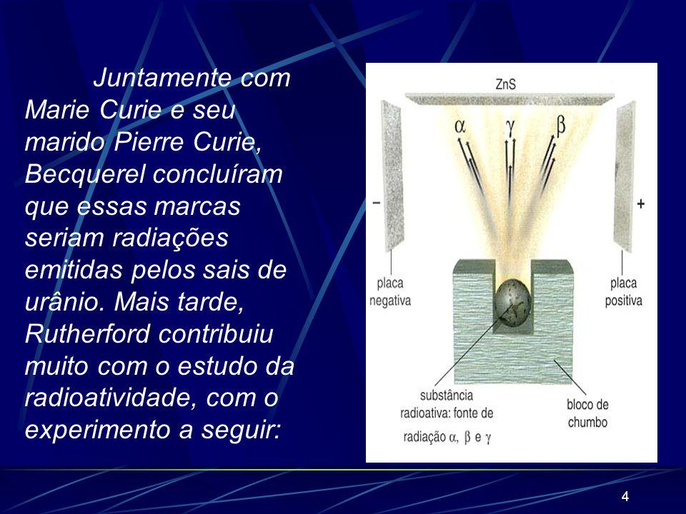 3 1) A radioatividade A radioatividade foi descoberta no final do século XIX pelo francês Henri Becquerel. Ele percebeu que, colocados nas proximidade