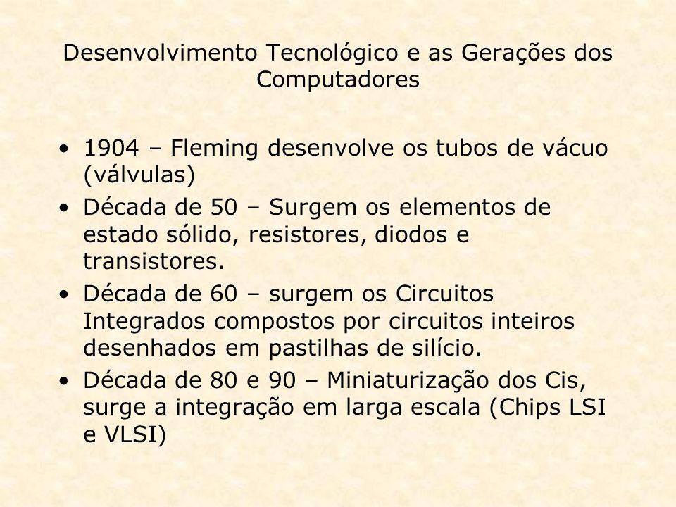 Desenvolvimento Tecnológico e as Gerações dos Computadores 1904 – Fleming desenvolve os tubos de vácuo (válvulas) Década de 50 – Surgem os elementos d