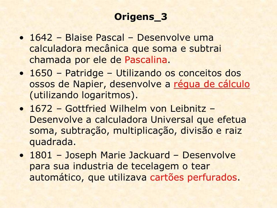 1642 – Blaise Pascal – Desenvolve uma calculadora mecânica que soma e subtrai chamada por ele de Pascalina. 1650 – Patridge – Utilizando os conceitos