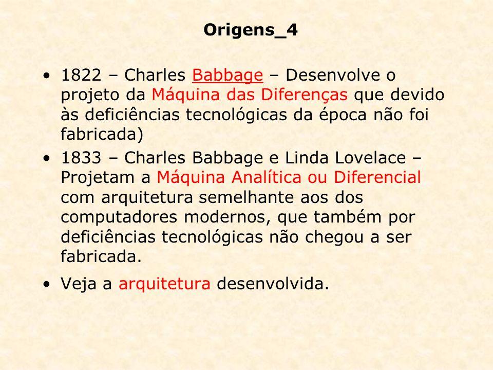 Origens_4 1822 – Charles Babbage – Desenvolve o projeto da Máquina das Diferenças que devido às deficiências tecnológicas da época não foi fabricada)B