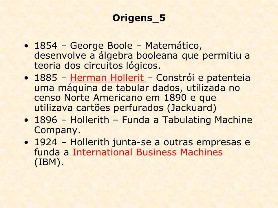 Origens_5 1854 – George Boole – Matemático, desenvolve a álgebra booleana que permitiu a teoria dos circuitos lógicos. 1885 – Herman Hollerit – Constr