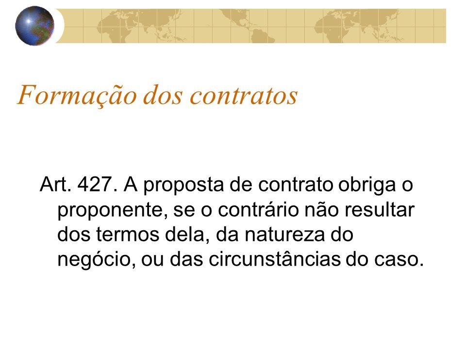Formação dos contratos Art. 427. A proposta de contrato obriga o proponente, se o contrário não resultar dos termos dela, da natureza do negócio, ou d