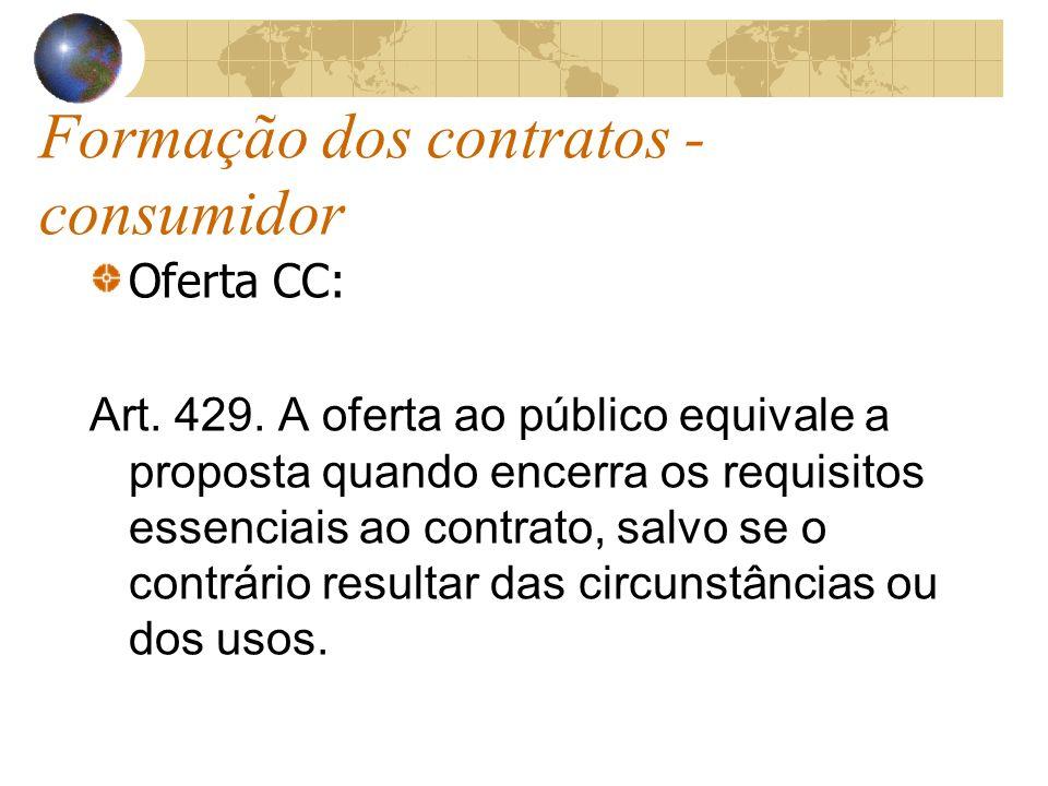 Formação dos contratos - consumidor Oferta CC: Art. 429. A oferta ao público equivale a proposta quando encerra os requisitos essenciais ao contrato,