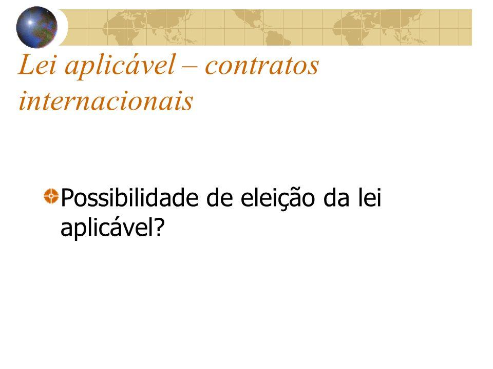Lei aplicável – contratos internacionais Possibilidade de eleição da lei aplicável?