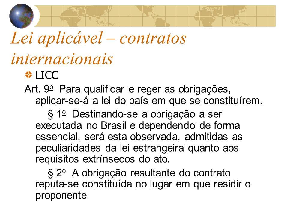 Lei aplicável – contratos internacionais LICC Art. 9 o Para qualificar e reger as obrigações, aplicar-se-á a lei do país em que se constituírem. § 1 o