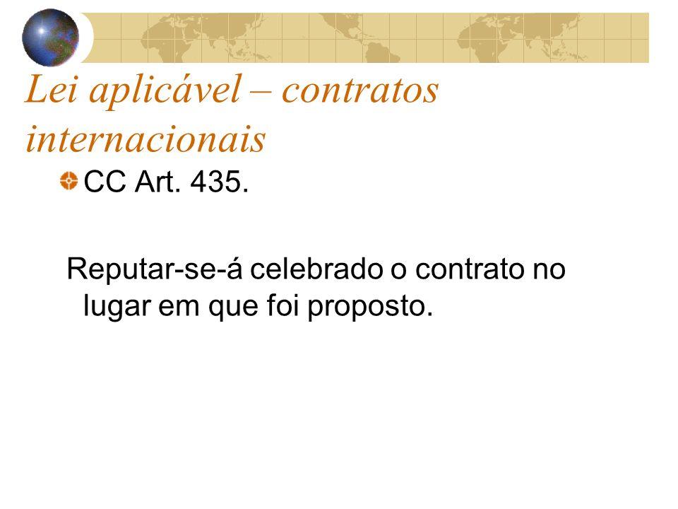 Lei aplicável – contratos internacionais CC Art. 435. Reputar-se-á celebrado o contrato no lugar em que foi proposto.