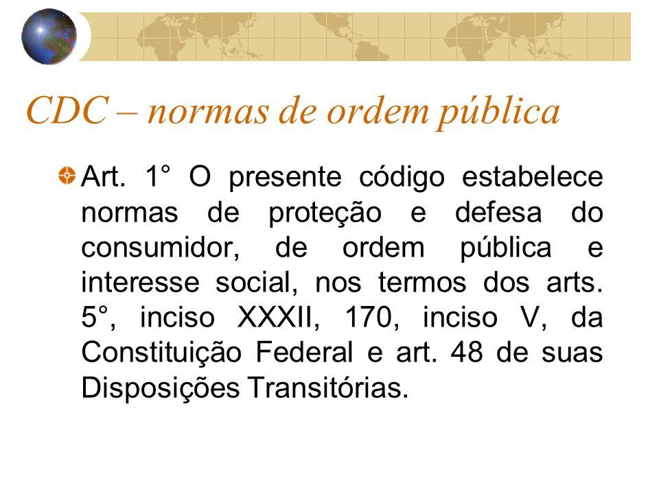 CDC – normas de ordem pública Art. 1° O presente código estabelece normas de proteção e defesa do consumidor, de ordem pública e interesse social, nos