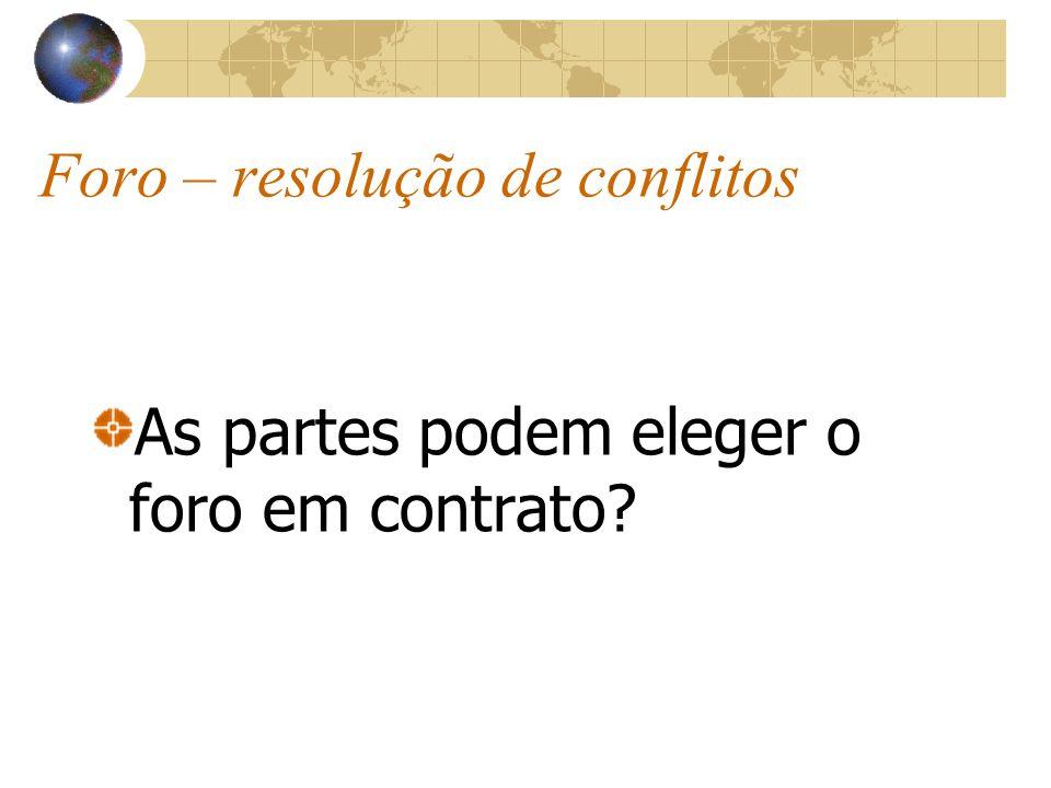 Foro – resolução de conflitos As partes podem eleger o foro em contrato?