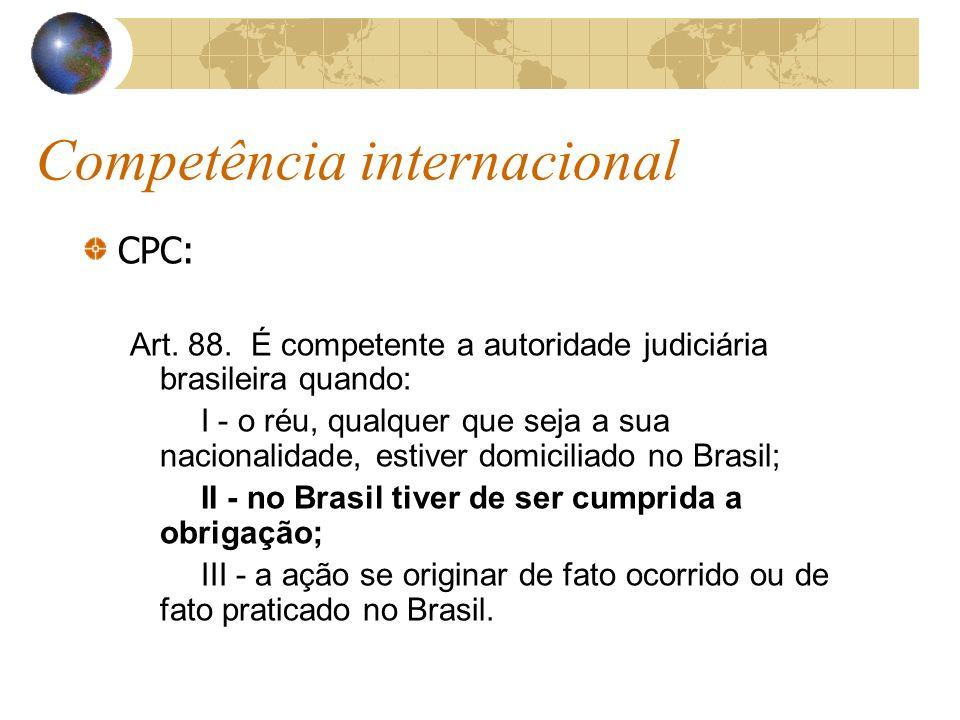 Competência internacional CPC: Art. 88. É competente a autoridade judiciária brasileira quando: I - o réu, qualquer que seja a sua nacionalidade, esti