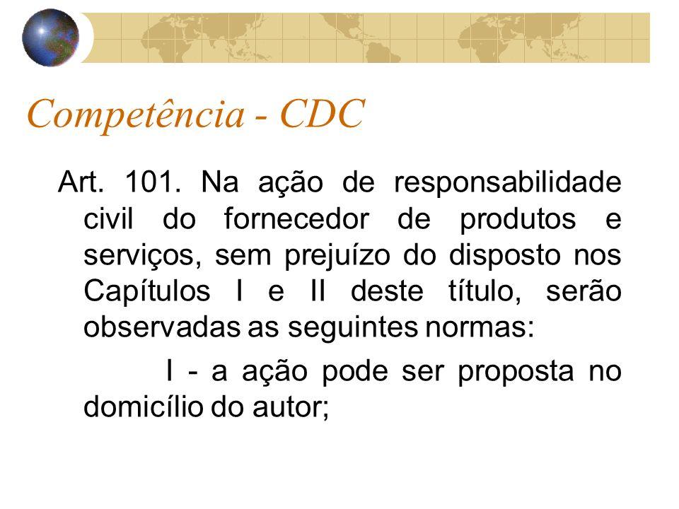 Competência - CDC Art. 101. Na ação de responsabilidade civil do fornecedor de produtos e serviços, sem prejuízo do disposto nos Capítulos I e II dest