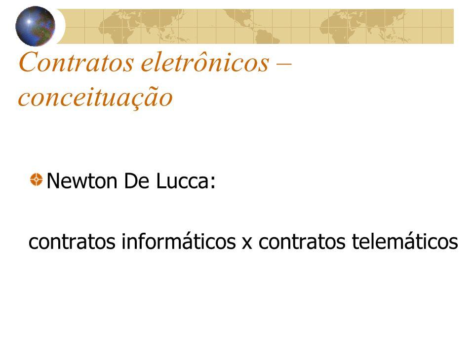 Contratos eletrônicos – conceituação Newton De Lucca: contratos informáticos x contratos telemáticos