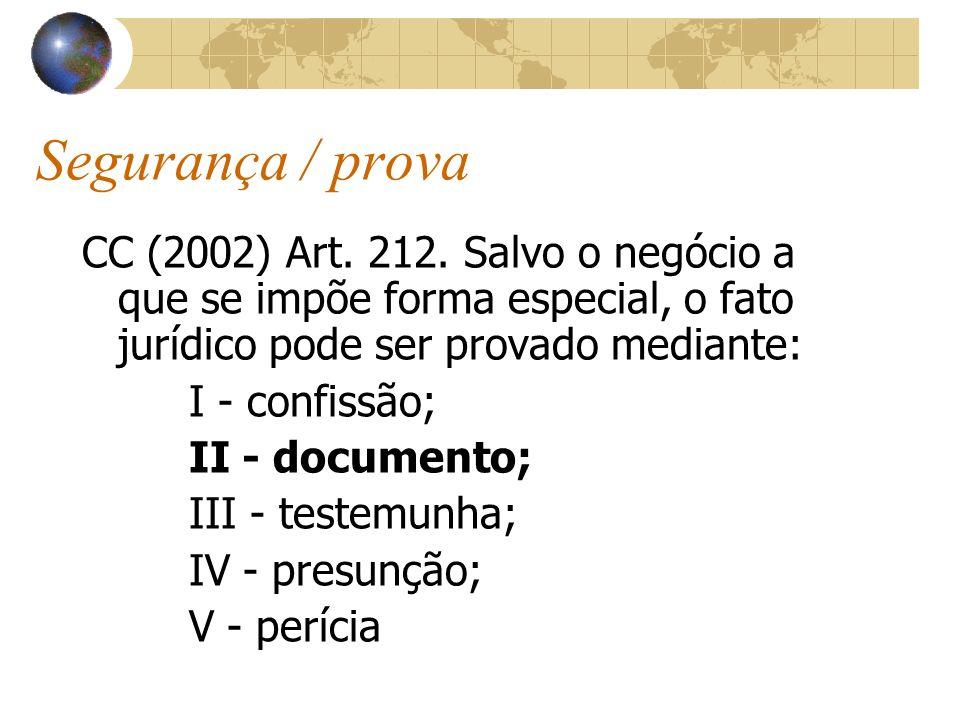Segurança / prova CC (2002) Art. 212. Salvo o negócio a que se impõe forma especial, o fato jurídico pode ser provado mediante: I - confissão; II - do