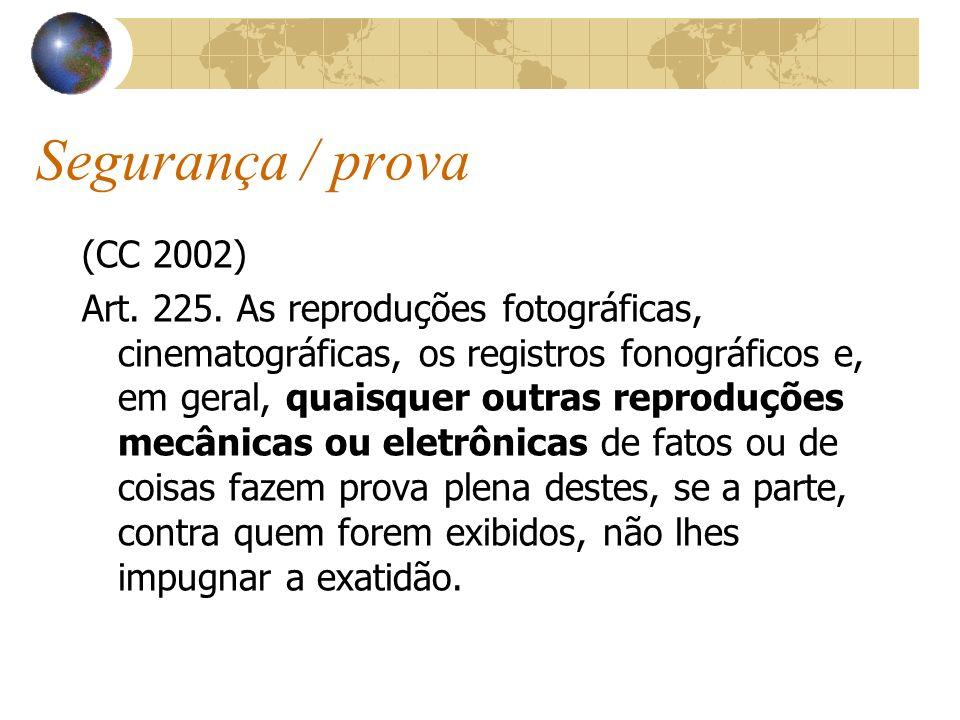Segurança / prova (CC 2002) Art. 225. As reproduções fotográficas, cinematográficas, os registros fonográficos e, em geral, quaisquer outras reproduçõ