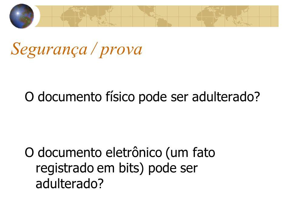 Segurança / prova O documento físico pode ser adulterado? O documento eletrônico (um fato registrado em bits) pode ser adulterado?