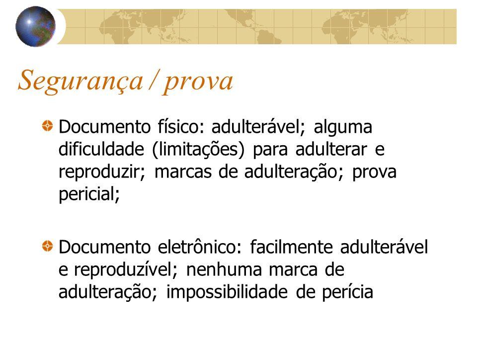 Segurança / prova Documento físico: adulterável; alguma dificuldade (limitações) para adulterar e reproduzir; marcas de adulteração; prova pericial; D