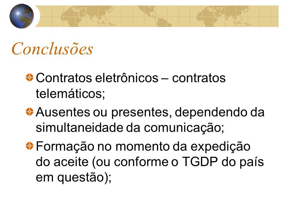 Conclusões Contratos eletrônicos – contratos telemáticos; Ausentes ou presentes, dependendo da simultaneidade da comunicação; Formação no momento da e