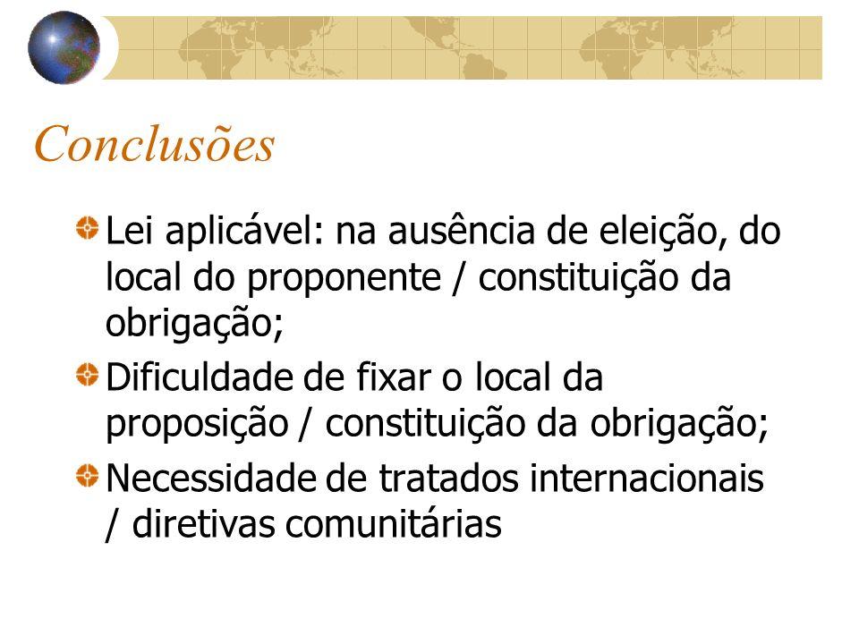 Conclusões Lei aplicável: na ausência de eleição, do local do proponente / constituição da obrigação; Dificuldade de fixar o local da proposição / con
