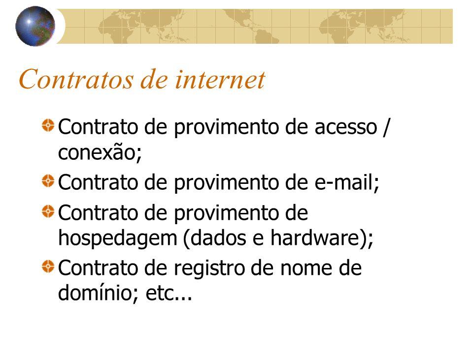 Contratos de internet Contrato de provimento de acesso / conexão; Contrato de provimento de e-mail; Contrato de provimento de hospedagem (dados e hard