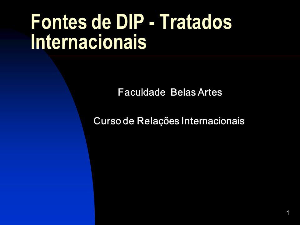 1 Fontes de DIP - Tratados Internacionais Faculdade Belas Artes Curso de Relações Internacionais