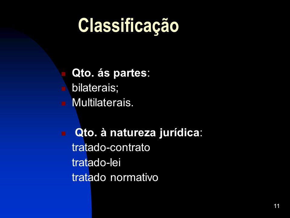 11 Classificação Qto. ás partes: bilaterais; Multilaterais. Qto. à natureza jurídica: tratado-contrato tratado-lei tratado normativo