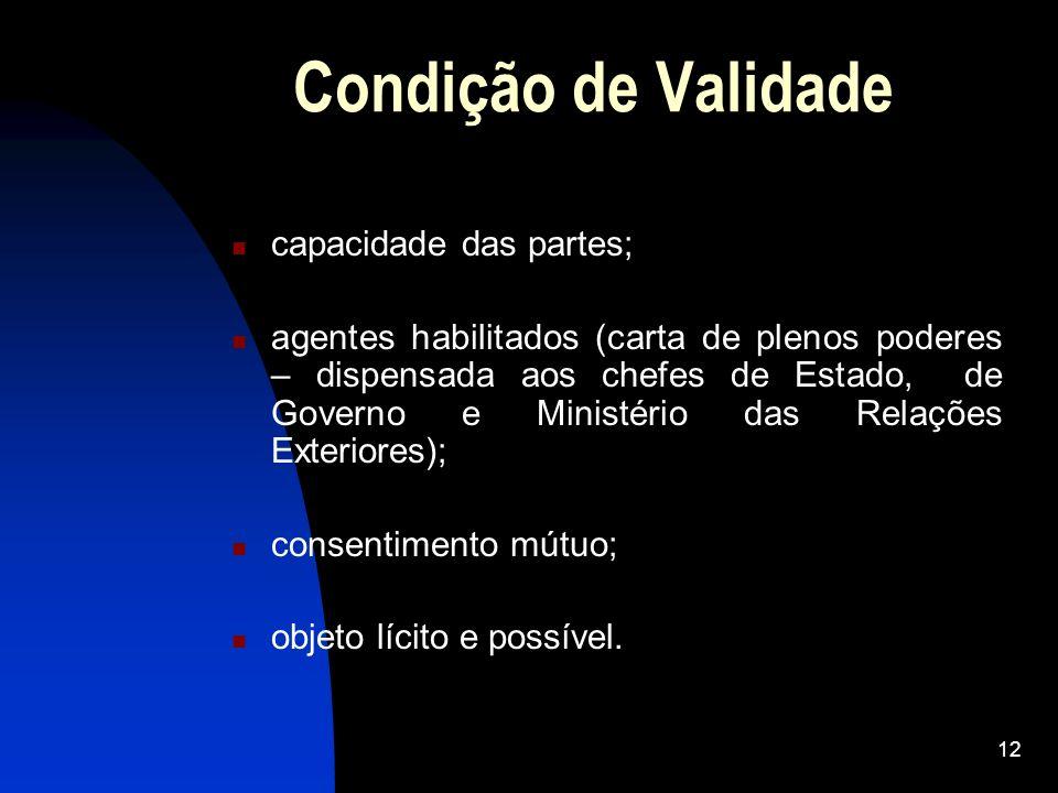 12 Condição de Validade capacidade das partes; agentes habilitados (carta de plenos poderes – dispensada aos chefes de Estado, de Governo e Ministério