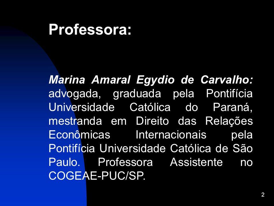 2 Professora: Marina Amaral Egydio de Carvalho: advogada, graduada pela Pontifícia Universidade Católica do Paraná, mestranda em Direito das Relações