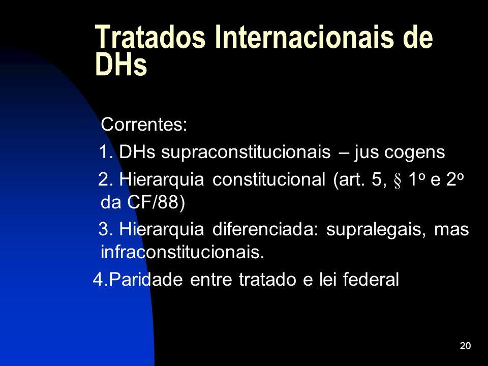 20 Tratados Internacionais de DHs Correntes: 1. DHs supraconstitucionais – jus cogens 2. Hierarquia constitucional (art. 5, § 1 o e 2 o da CF/88) 3. H
