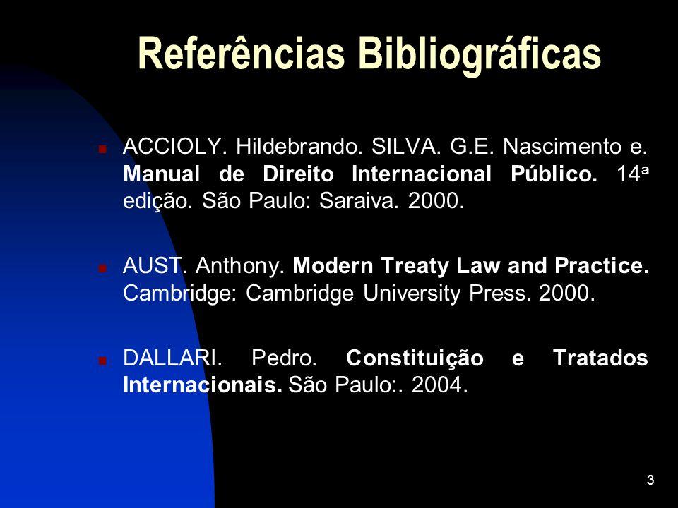 3 Referências Bibliográficas ACCIOLY. Hildebrando. SILVA. G.E. Nascimento e. Manual de Direito Internacional Público. 14 a edição. São Paulo: Saraiva.