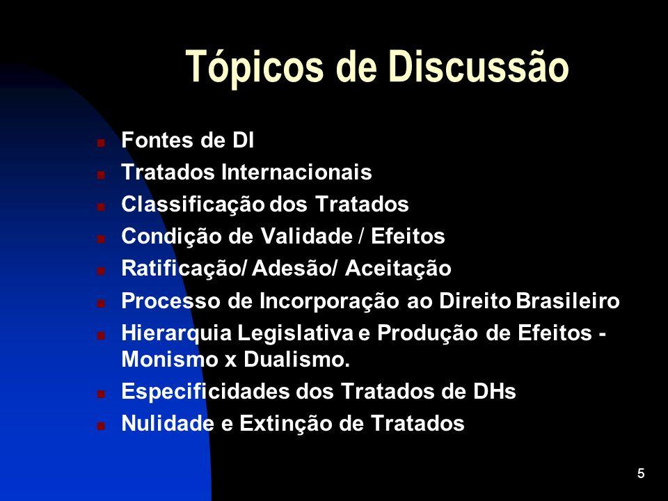 5 Tópicos de Discussão Fontes de DI Tratados Internacionais Classificação dos Tratados Condição de Validade / Efeitos Ratificação/ Adesão/ Aceitação P