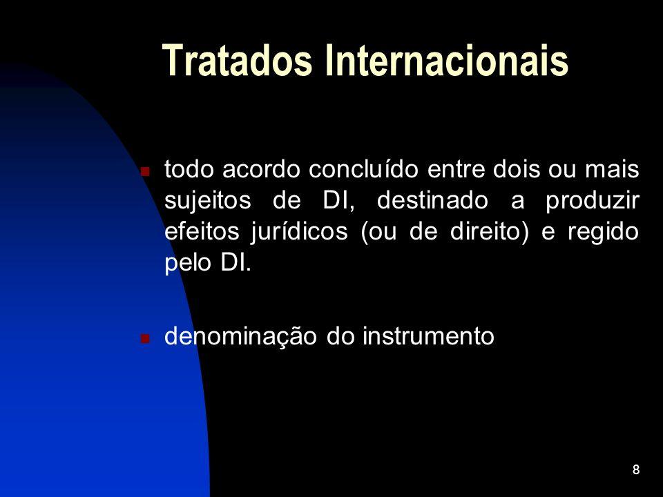 8 Tratados Internacionais todo acordo concluído entre dois ou mais sujeitos de DI, destinado a produzir efeitos jurídicos (ou de direito) e regido pel