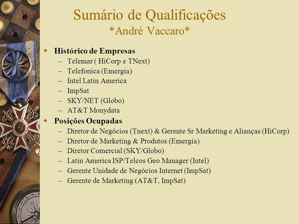 Sumário de Qualificações *André Vaccaro* Histórico de Empresas – Telemar ( HiCorp e TNext) – Telefonica (Emergia) – Intel Latin America – ImpSat – SKY