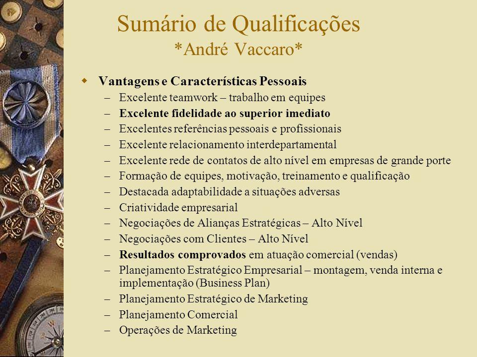 Sumário de Qualificações *André Vaccaro* Vantagens e Características Pessoais – Excelente teamwork – trabalho em equipes – Excelente fidelidade ao sup