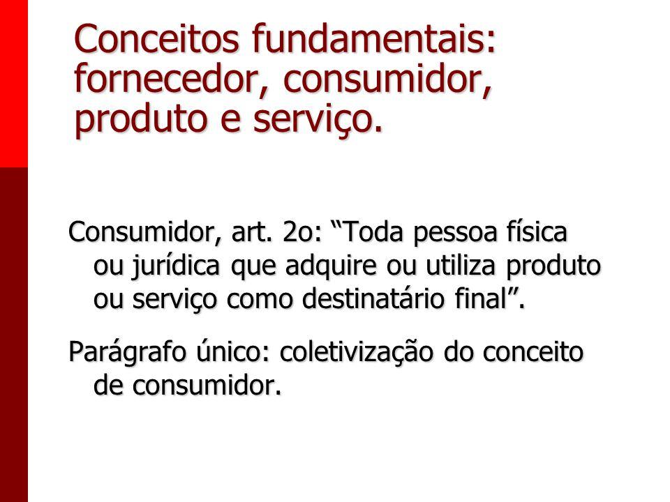 Conceitos fundamentais: fornecedor, consumidor, produto e serviço. Fornecedor, art. 3o: Pessoa física ou jurídica, pública ou privada, nacional ou est