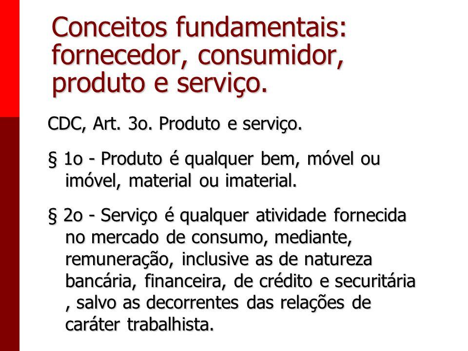 Conceitos fundamentais: fornecedor, consumidor, produto e serviço. Consumidor, art. 2o: Toda pessoa física ou jurídica que adquire ou utiliza produto