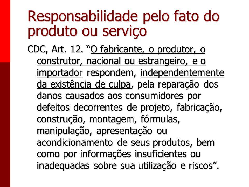 Responsabilidades decorrentes das relações de consumo. - Responsabilidade pelo fato do produto e do serviço. - Responsabilidade por vício do produto o