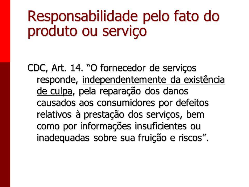 Responsabilidade pelo fato do produto ou serviço CDC, Art. 12. O fabricante, o produtor, o construtor, nacional ou estrangeiro, e o importador respond