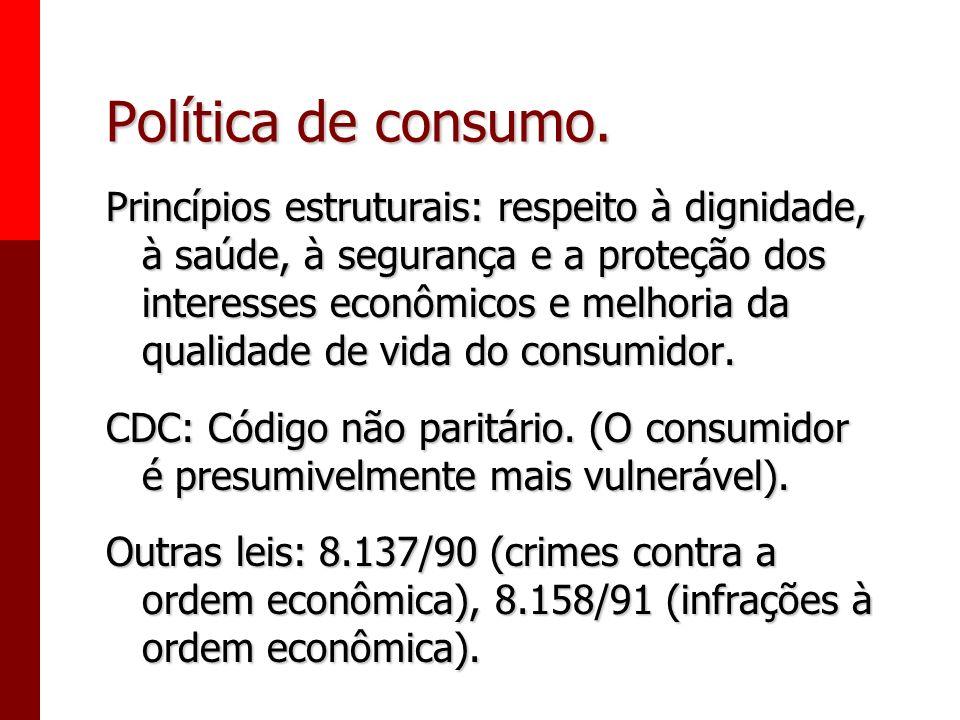 Política de consumo. Princípios: - Vulnerabilidade do consumidor. - Ação governamental. Direta e indireta. Instrumentos: - Assistência jurídica, Promo