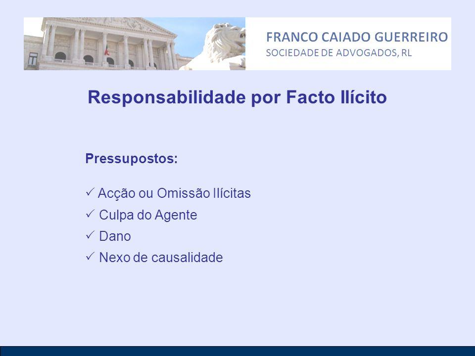 Responsabilidade por Facto Ilícito Pressupostos: Acção ou Omissão Ilícitas Culpa do Agente Dano Nexo de causalidade