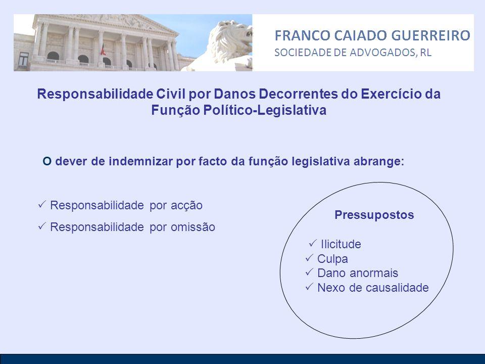 Responsabilidade Civil por Danos Decorrentes do Exercício da Função Político-Legislativa O dever de indemnizar por facto da função legislativa abrange