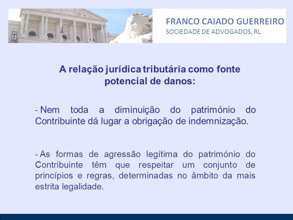 A relação jurídica tributária como fonte potencial de danos: - Nem toda a diminuição do património do Contribuinte dá lugar a obrigação de indemnizaçã