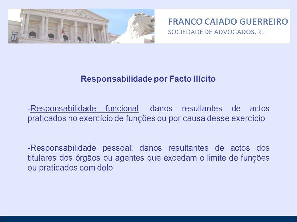 Responsabilidade por Facto Ilícito -Responsabilidade funcional: danos resultantes de actos praticados no exercício de funções ou por causa desse exerc